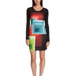 Desigual Ymanga Bodycon Geometric Print Dress New
